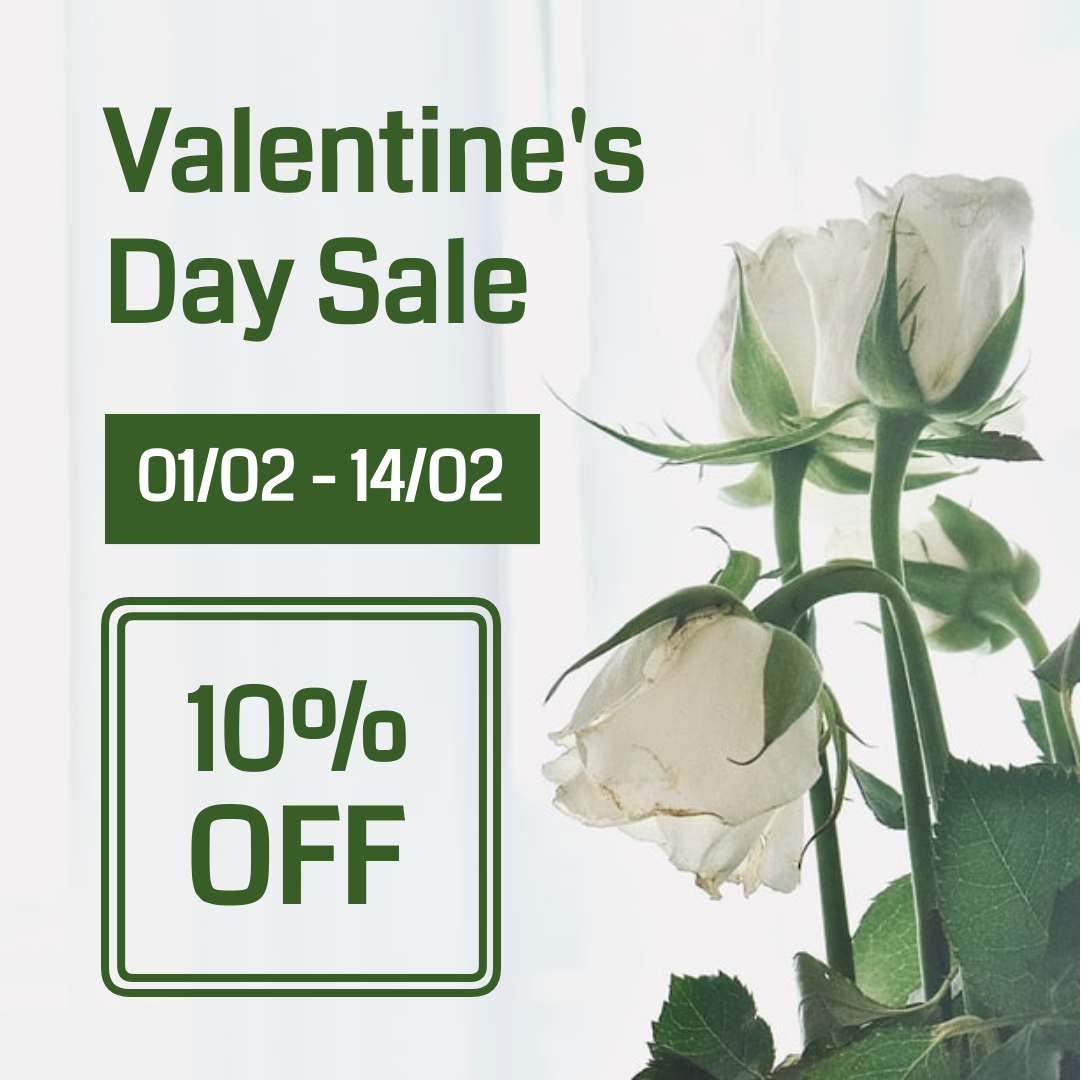 Instagram Post template: White And Green Valentine's Day Instagram Post (Created by InfoART's Instagram Post maker)