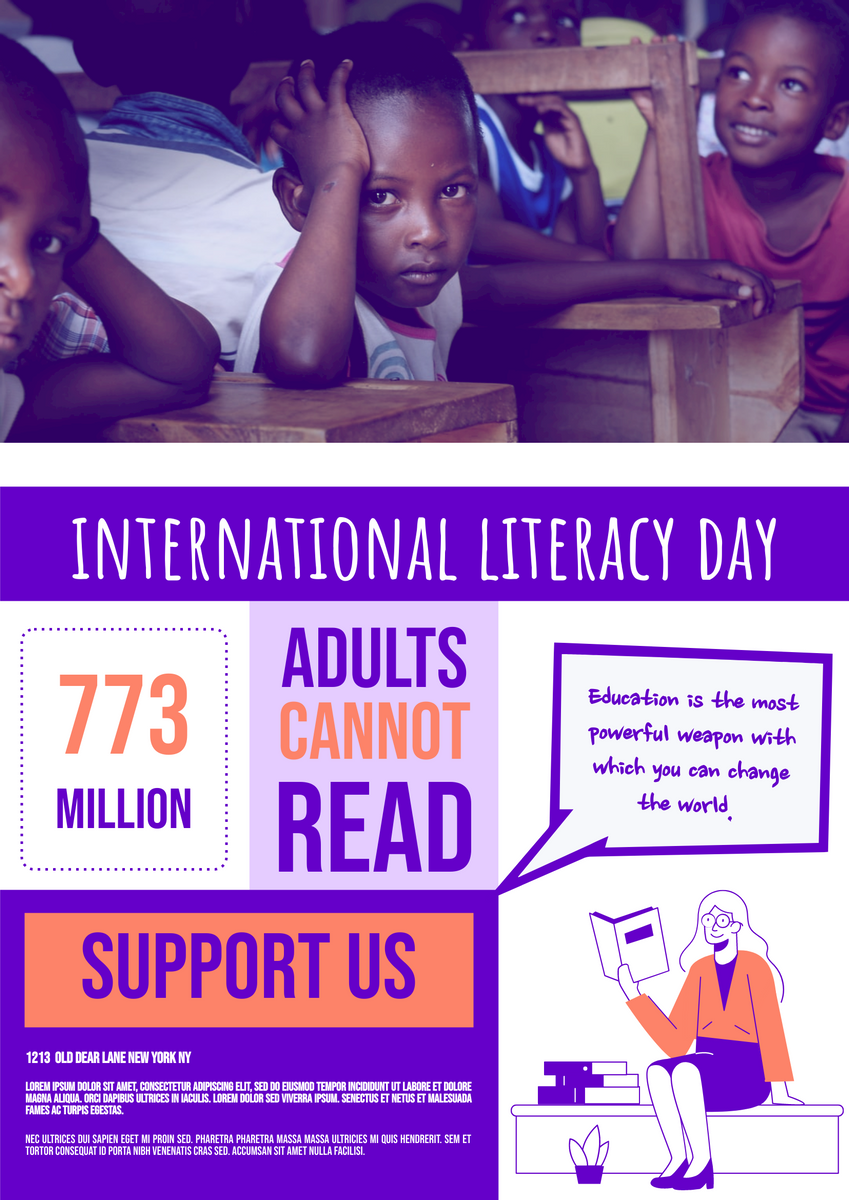 Poster template: Literacy Day Education Charity Poster (Created by InfoART's Poster maker)