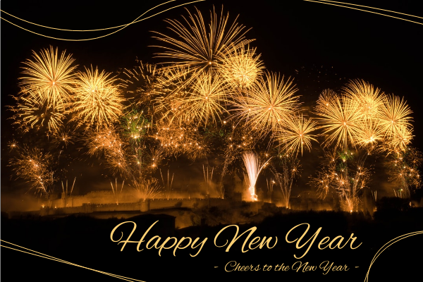 Greeting Card template: Gold Fireworks Happy New Year Greeting Card Greeting Card (Created by InfoART's Greeting Card maker)
