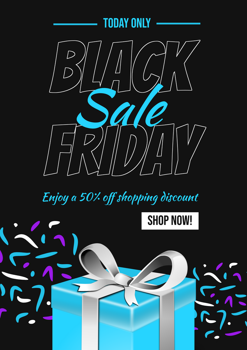 Poster template: Neon Blue Black Friday Sale Gift Poster (Created by InfoART's Poster maker)