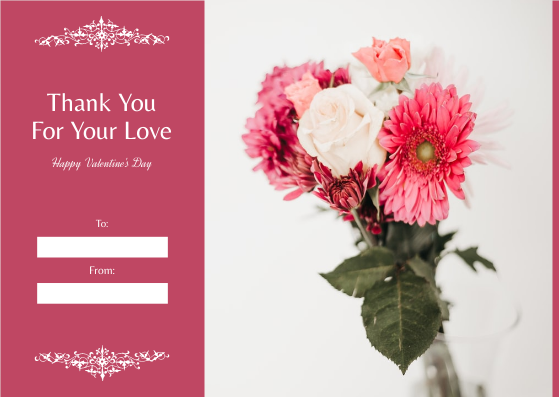 Gift Card template: Pink Flower Photo Valentine's Day Gift Card (Created by InfoART's Gift Card maker)