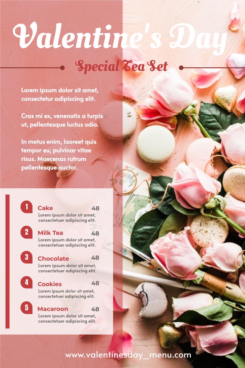 Menu template: Valentine's Day Special Tea Set Menu (Created by InfoART's Menu maker)