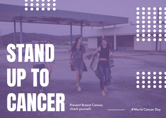 Postcard template: Purple Girls Photo World Cancer Day Postcard (Created by InfoART's Postcard maker)