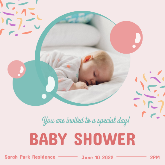 Invitation template: Pastel Pink And Blue Baby Shower Invitation (Created by InfoART's Invitation marker)