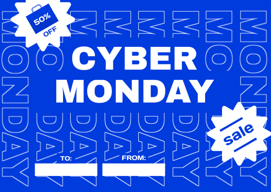 Gift Card template: Mono Blue Cyber Monday Typography Gift Card (Created by InfoART's Gift Card maker)