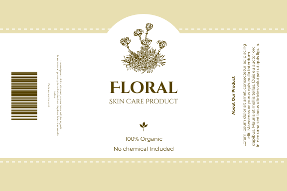 Label template: Floral Skin Care Product Label (Created by InfoART's Label maker)