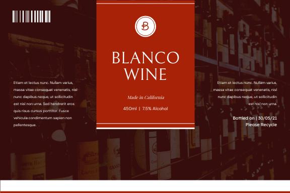 Label template: Red Wine Bottle Product Label (Created by InfoART's Label maker)