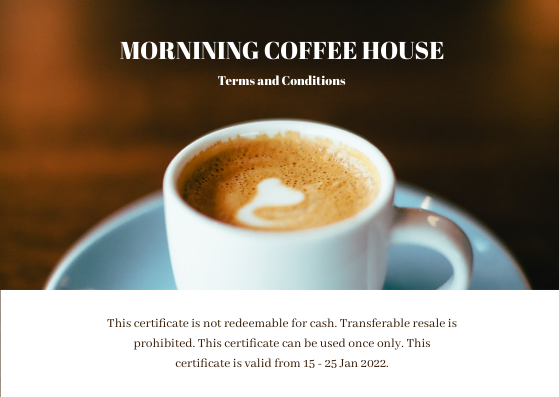 Gift Card template: Coffee Shop Photo Gift Card For Coffee (Created by InfoART's Gift Card maker)