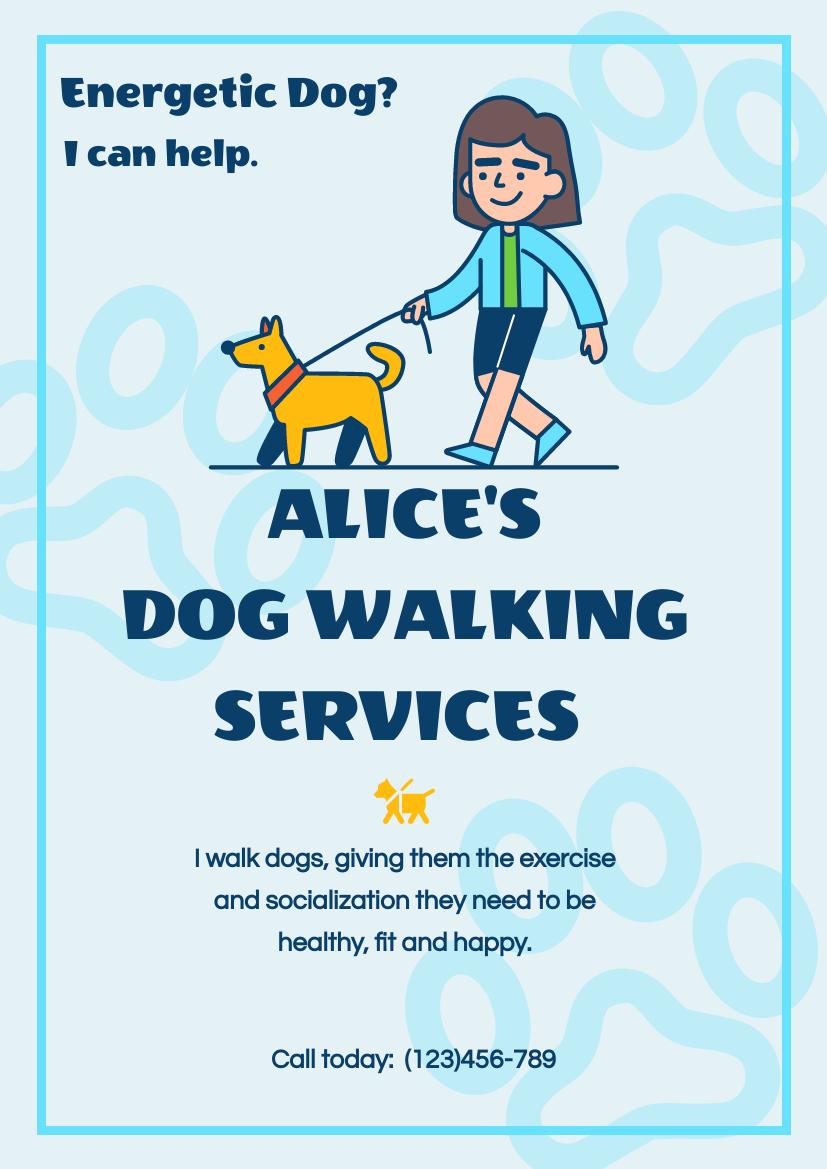 Flyer template: Blue Dog Walk Flyer (Created by InfoART's Flyer maker)