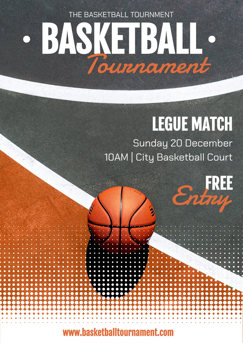 Poster template: Orange Dots The Basketball Tournament Poster (Created by InfoART's Poster maker)