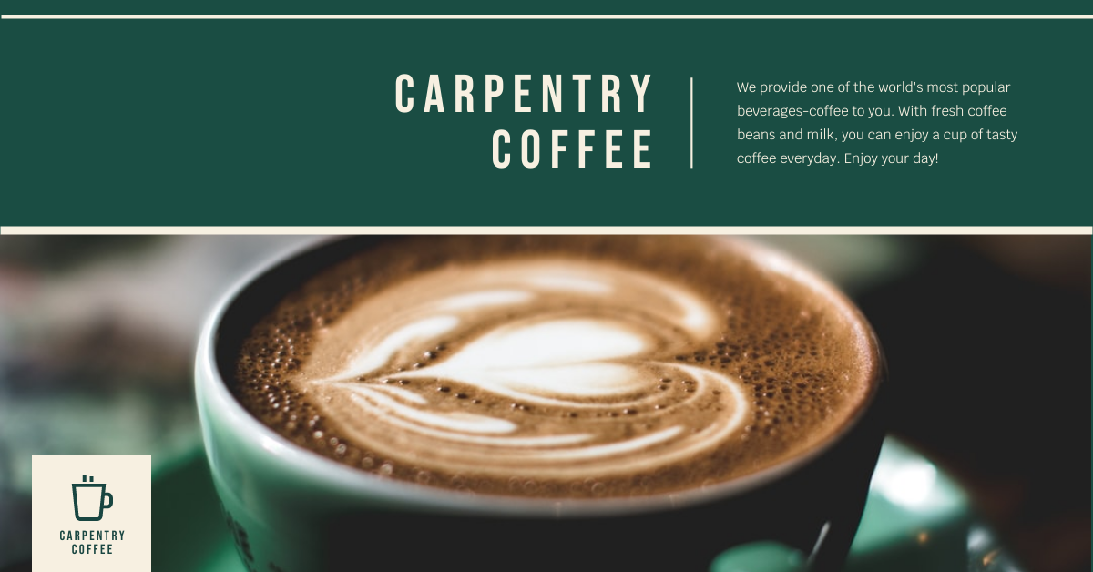 Facebook Ad template: Green Coffee Photo Coffee Shop Facebook Ad (Created by InfoART's Facebook Ad maker)