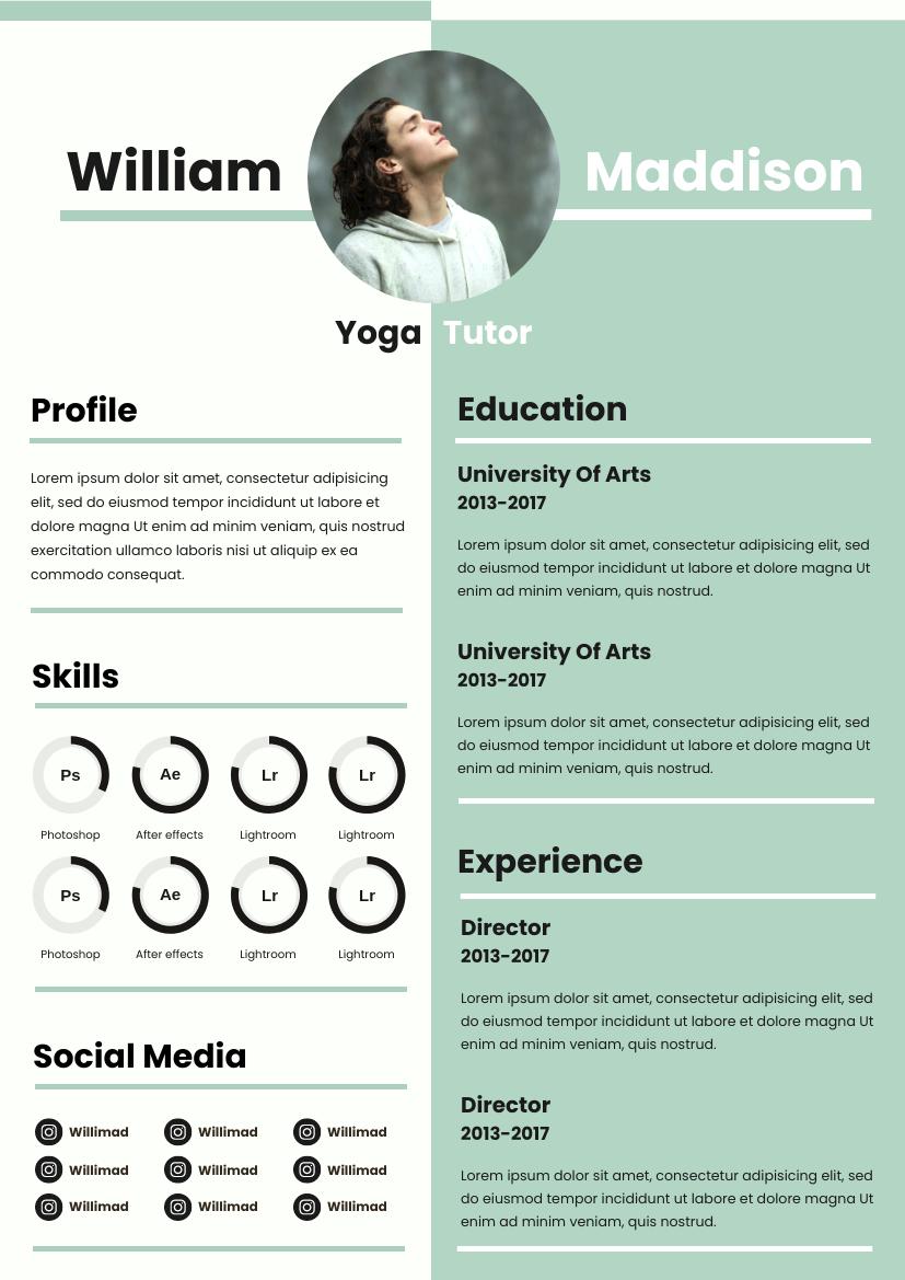 Resume template: Mint Resume (Created by InfoART's Resume maker)
