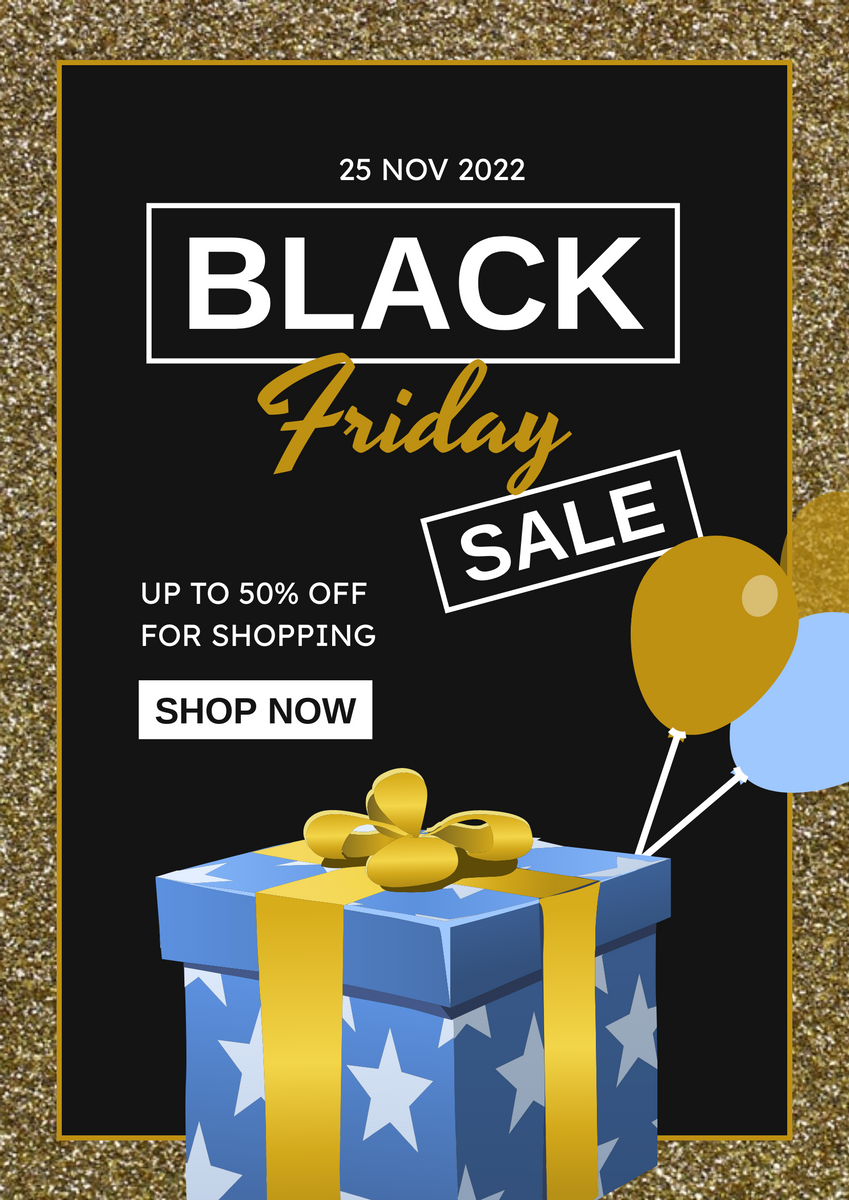 Poster template: Gold And Black Black Friday Specials Poster (Created by InfoART's Poster maker)
