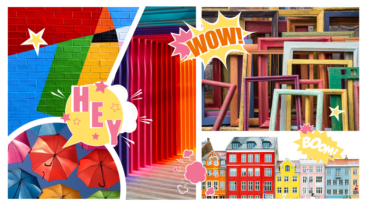 Comic Strip template: Colourful Artwork Comic Strip (Created by Collage's Comic Strip maker)