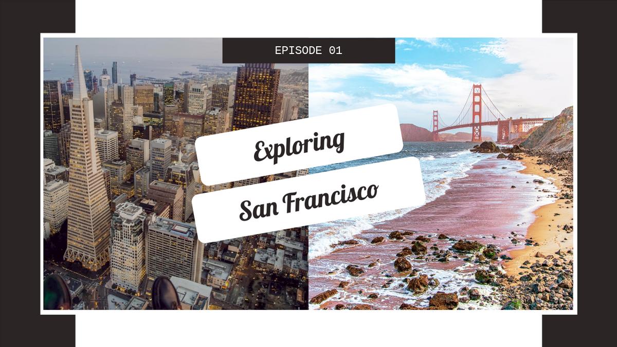 YouTube Thumbnail template: Exploring San Francisco Travelling YouTube Thumbnail (Created by InfoART's YouTube Thumbnail maker)