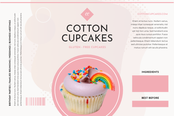 Label template: Pink Cupcake Food Packaging Label (Created by InfoART's Label maker)