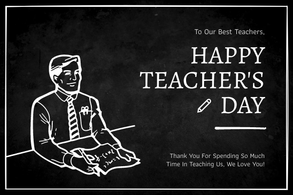 Greeting Card template: Blackboard Teacher Illustration Teacher's Day Greeting Card (Created by InfoART's Greeting Card maker)