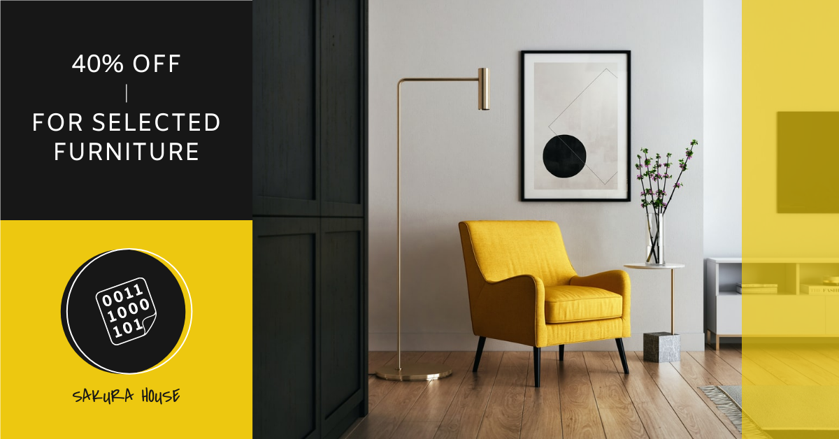 Facebook Ad template: Yellow And Black Furniture Photo Selling Facebook Ad (Created by InfoART's Facebook Ad maker)