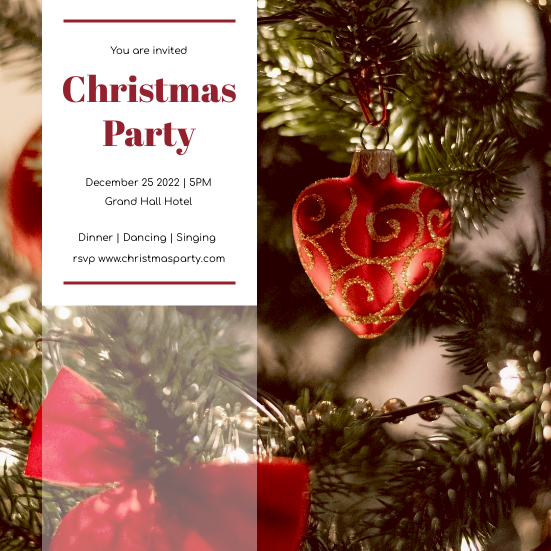 Invitation template: Red And Green Christmas Tree Christmas Party Invitation (Created by InfoART's Invitation maker)