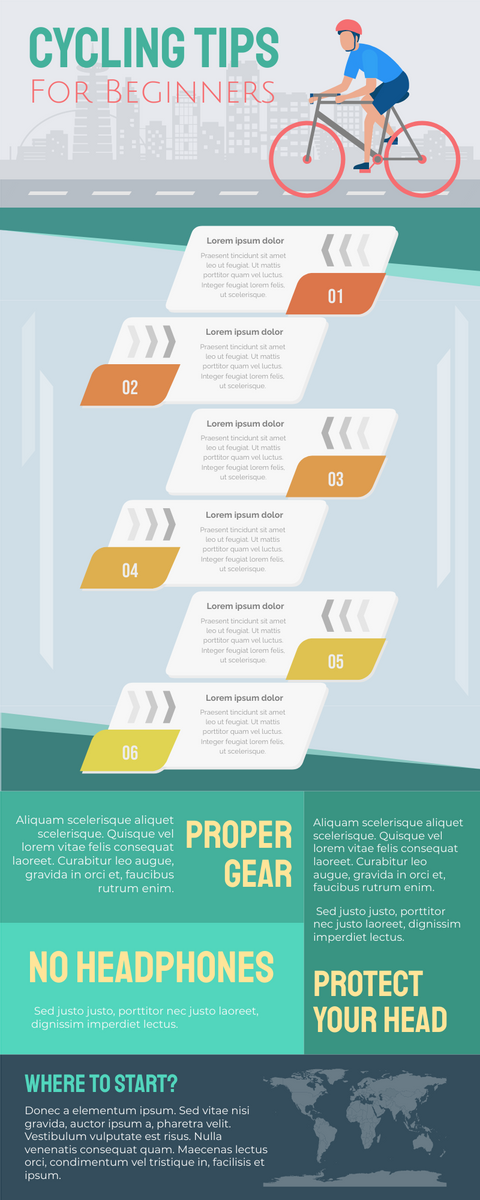Infographic template: Infographic Of Cycling Tips for Beginners (Created by InfoART's Infographic maker)