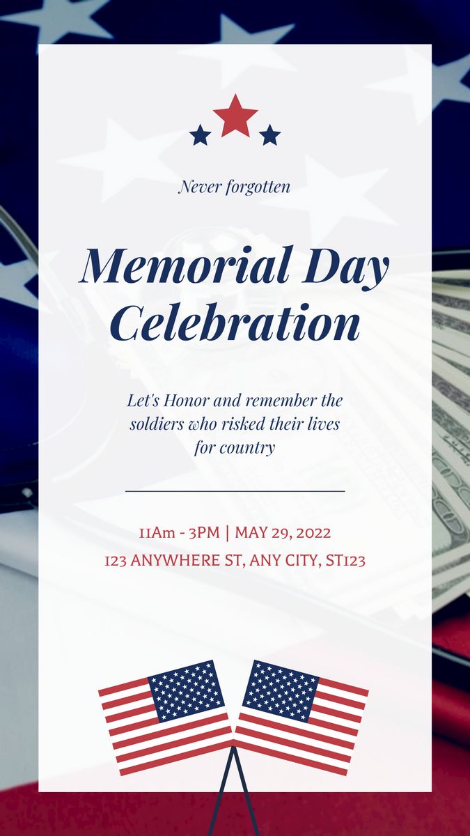Instagram Story template: Red And Blue Bordered Flag Illustration Memorial Day Instagram Post (Created by InfoART's Instagram Story maker)