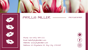 Business Card template: Pink Floral Photo Background Photographer Business Card (Created by InfoART's Business Card maker)
