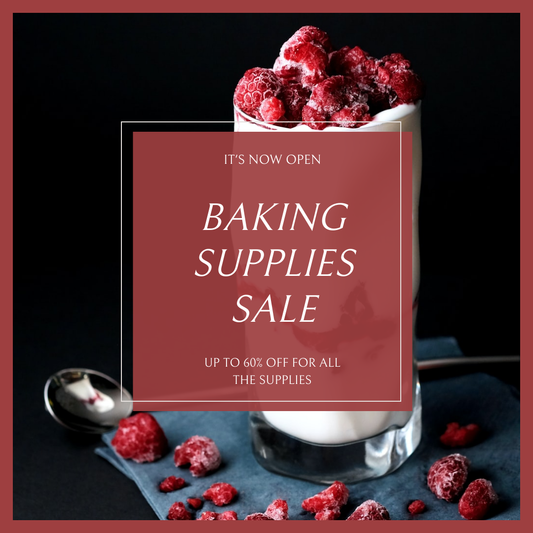 Instagram Post template: Red And Black Baking Supplies Sale Instagram Post (Created by InfoART's Instagram Post maker)