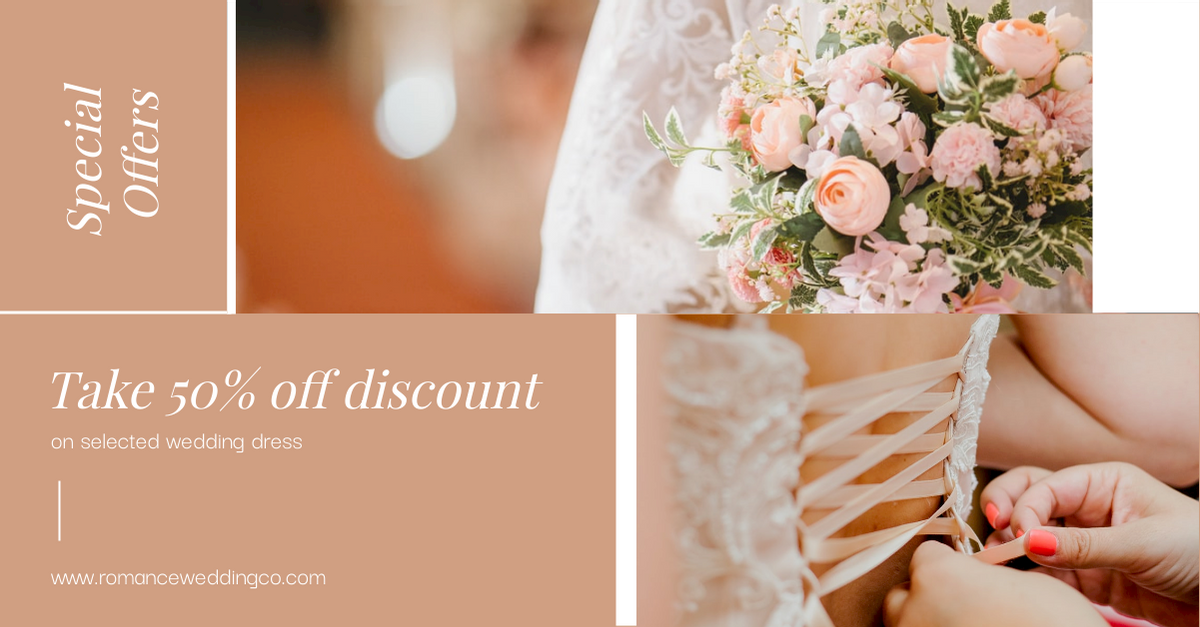 Facebook Ad template: Simple Pink Wedding Dress Special Offers Facebook Ad (Created by InfoART's Facebook Ad maker)