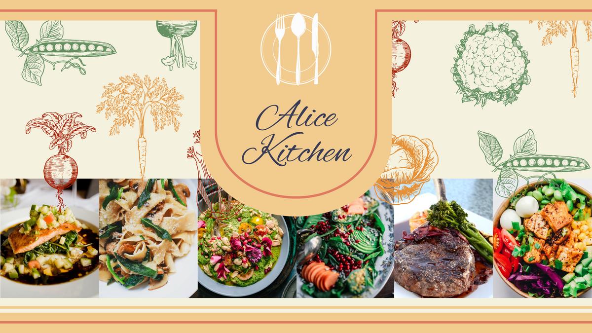 YouTube Channel Art template: Alice Kitchen YouTube Channel Art (Created by Collage's YouTube Channel Art maker)