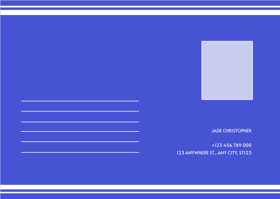Postcard template: Blue Monochrome Graduation Photo Congratulations Postcard (Created by InfoART's Postcard maker)