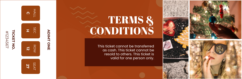 Ticket template: New Year's Eve Party Ticket (Created by InfoART's Ticket maker)