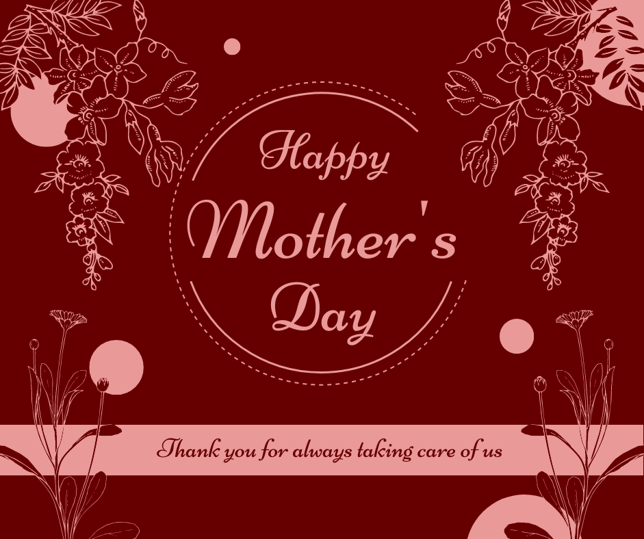Facebook Post template: Red Floral Mother's Day Celebration Facebook Post (Created by InfoART's Facebook Post maker)