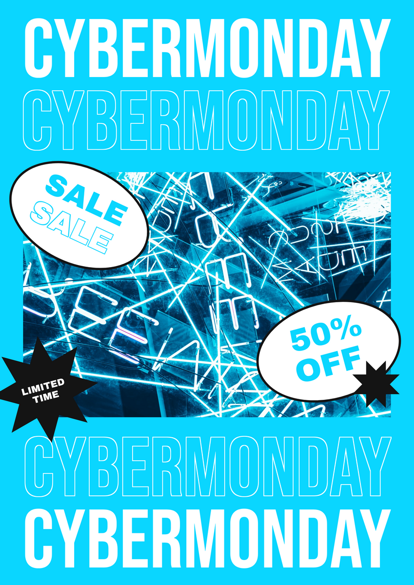 Poster template: Blue Cyber Monday Sale Trendy Poster (Created by InfoART's Poster maker)