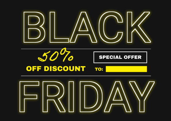 Gift Card template: Neon Yellow Black Friday Typography Gift Card (Created by InfoART's Gift Card maker)