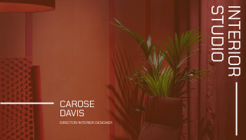 Business Card template: Red Furniture Photo Interior Design Business Card (Created by InfoART's Business Card maker)