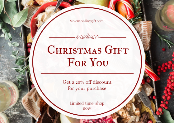 Gift Card template: Christmas Food Photo Shopping Discount Gift Card (Created by InfoART's Gift Card maker)