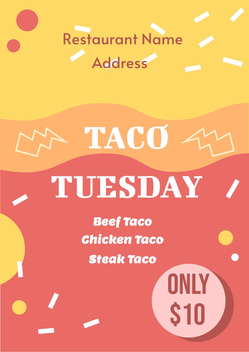 Flyer template: Taco Tues Flyer (Created by InfoART's Flyer maker)