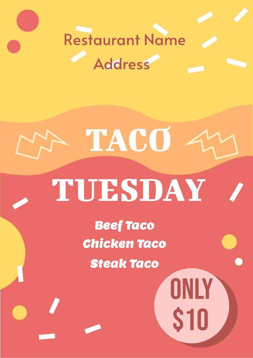Flyer template: Taco Tuesday Flyer (Created by InfoART's Flyer maker)