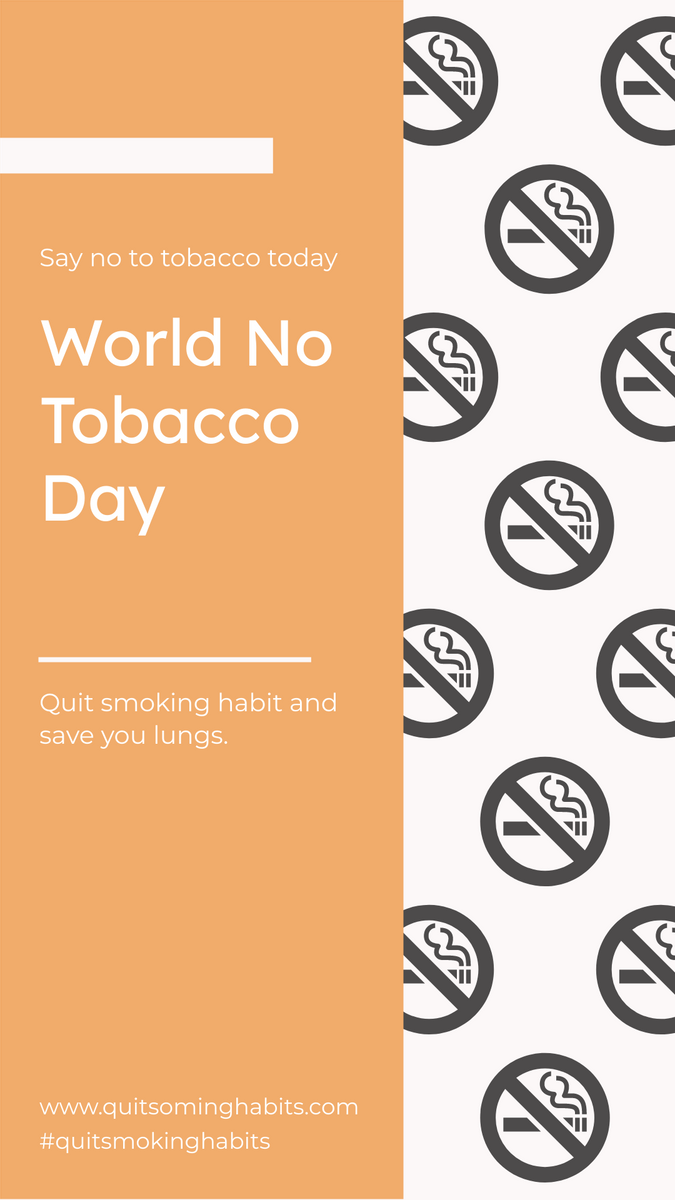 Instagram Story template: Simple Orange No Smoking Patterns World No Tobacco Day Instagram Story (Created by InfoART's Instagram Story maker)