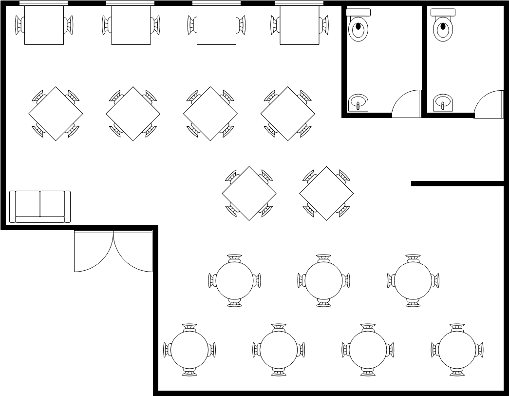 Seating Chart template: Small Restaurant Seating Plan (Created by InfoART's Seating Chart maker)