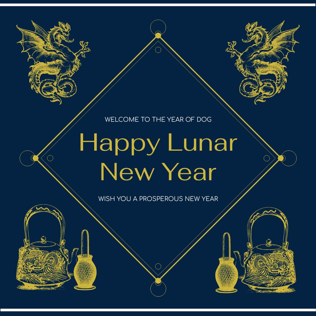 Instagram Post template: Blue Dragon Lunar New Year Instagram Post (Created by InfoART's Instagram Post maker)