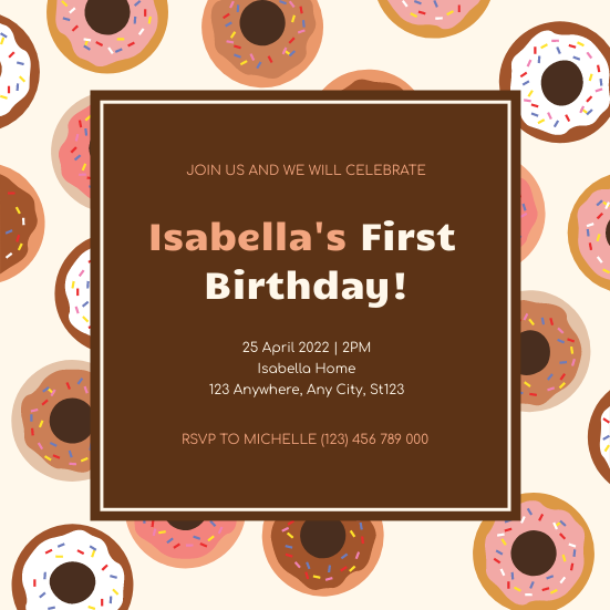 Invitation template: Donuts Illustrations The First Birthday Party Invitation (Created by InfoART's Invitation maker)
