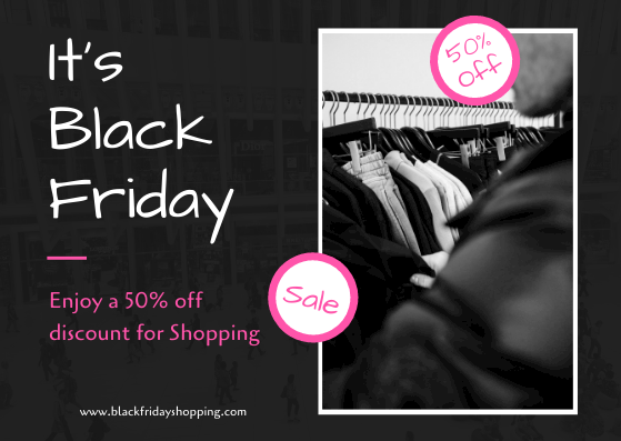 Gift Card template: Black And Pink Black Friday Shopping Gift Card (Created by InfoART's Gift Card maker)