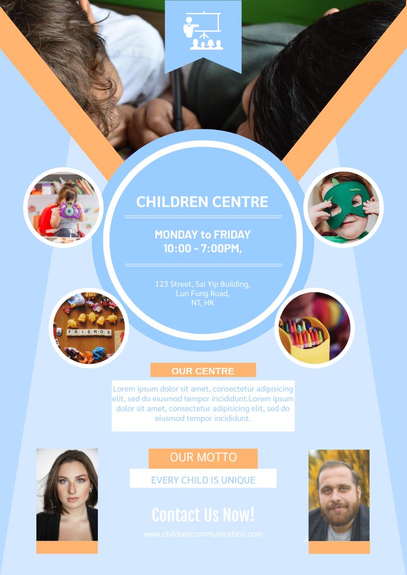 Flyer template: Blue Children Centre Flyer (Created by InfoART's Flyer maker)