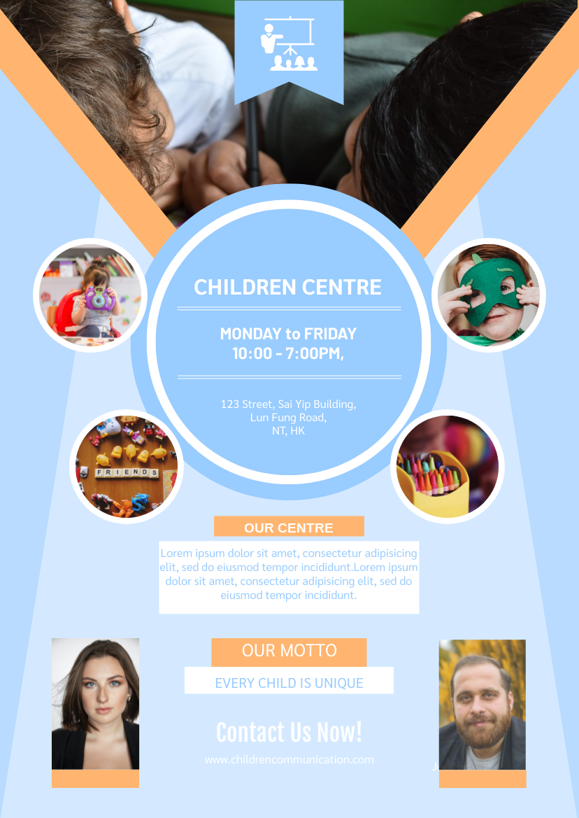Flyer template: Informative Children Centre Flyer (Created by InfoART's Flyer maker)