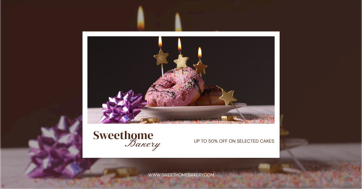 Facebook Ad template: Polaroid Cake Photo Bakery Cakes Sale Facebook Ad (Created by InfoART's Facebook Ad maker)