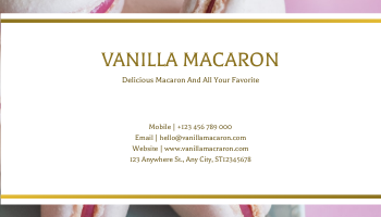 Business Card template: Pink Macaron Photo With Gold Business Card (Created by InfoART's Business Card maker)
