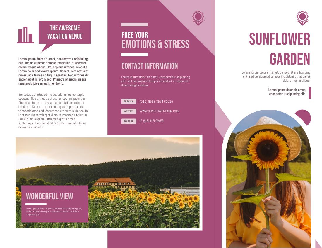 Brochure template: Purple Sunflower Gallery Brochure (Created by InfoART's Brochure maker)