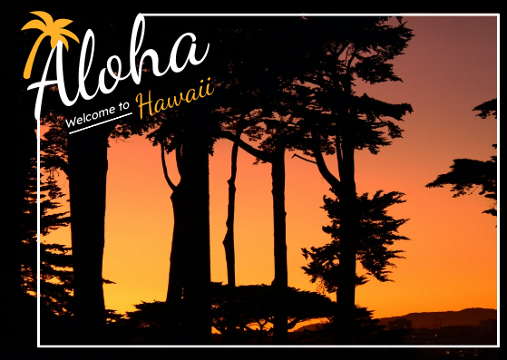 Post Card template: Aloha Hawaii Welcome Post Card (Created by InfoART's Post Card marker)