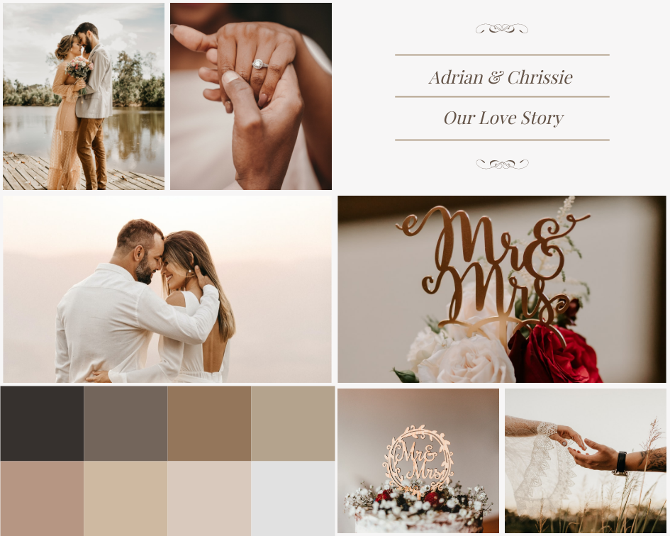 Mood Board template: Our Love Story Wedding Mood Board (Created by Collage's Mood Board maker)